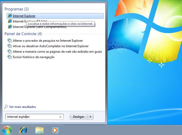 Localizando e executando o Internet Explorer (Foto: Reprodução/Edivaldo Brito)