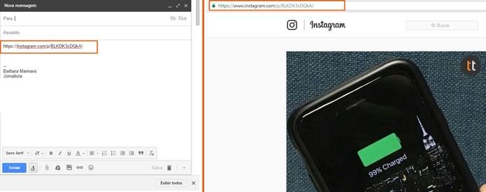 A URL pode ser enviada por e-mail (à esquerda) e acessada diretamente no navegador (à direita) (Foto: Reprodução/Barbara Mannara)