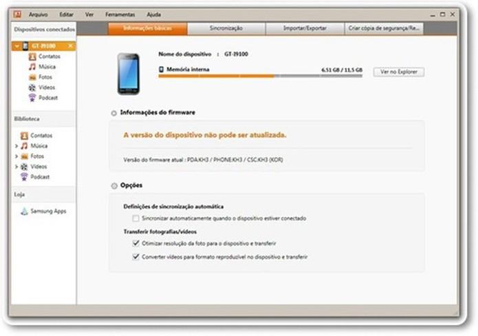 O Kies pode ajudar a identificar aparelhos Android conectados ao PC  (Foto: Reprodução/Kies)
