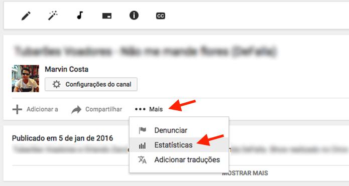 Ação para visualizar as estatísticas de um vídeo no YouTube (Foto: Reprodução/Marvin Costa)