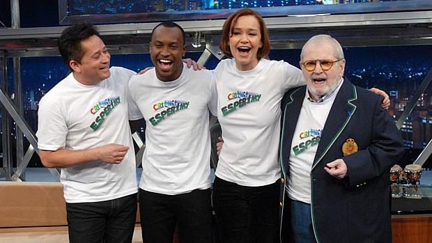 Jô Soares gravou para a campanha ao lado de Leonardo, Júlia Lemmertz e Thiaguinho (Foto: Divulgação TV Globo / Zé Paulo Cardeal)