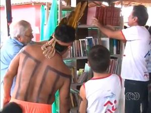 Biblioteca Cidada sera inaugurada na aldeia funil nesta sexta-feira (Foto: Reprodução/TV Anhanguera)