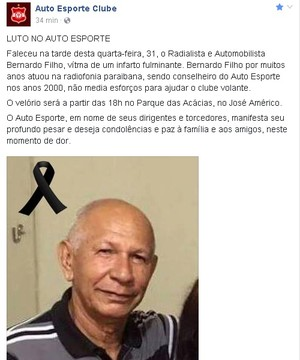 bernardo filho, radialista, paraíba, auto esporte (Foto: Divulgação / Auto Esporte)