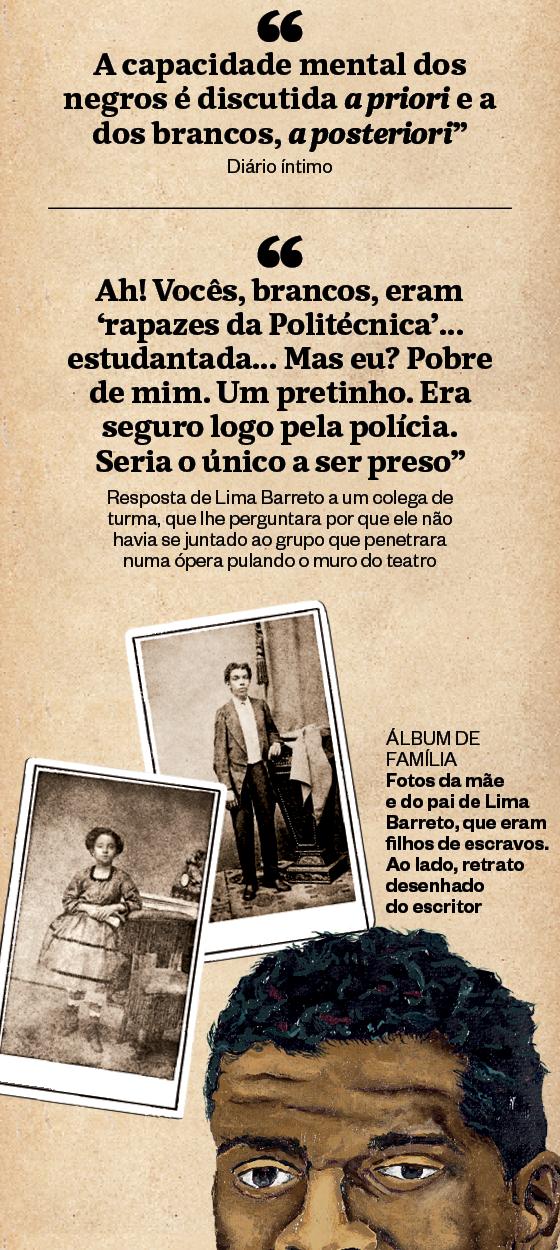 ÁLBUM DE FAMÍLIA Fotos da mãe  e do pai de Lima Barreto, que eram filhos de escravos. Ao lado, retrato desenhado  do escritor (Foto: Época)