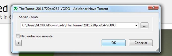 """Clique em """"OK"""" para baixar torrent no local escolhido no uTorrent (Foto: Reprodução/Ramon Cardoso)"""