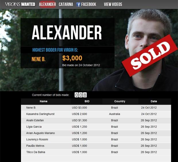Jovem vendeu sua primeira noite por R$ 6 mil e não há informações se comprador é homem ou mulher (Foto: Reprodução)