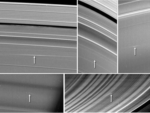 Cinco imagens dos anéis de Saturno, feitas pela sonda da Nasa Cassini entre 2009 e 2012, apresentam nuvens com material liberado após o impacto de pequenos objetos com os anéis (Foto: Nasa)