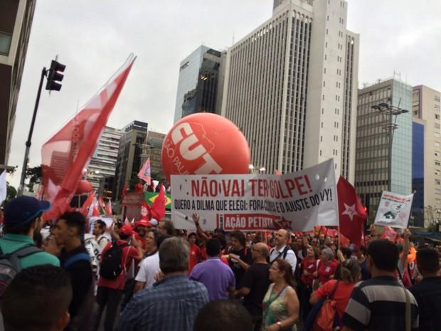 Grupo entra na Rua da Consolação em ato contra impeachment da presidente Dilma (Foto: Karina Godoy/G1)