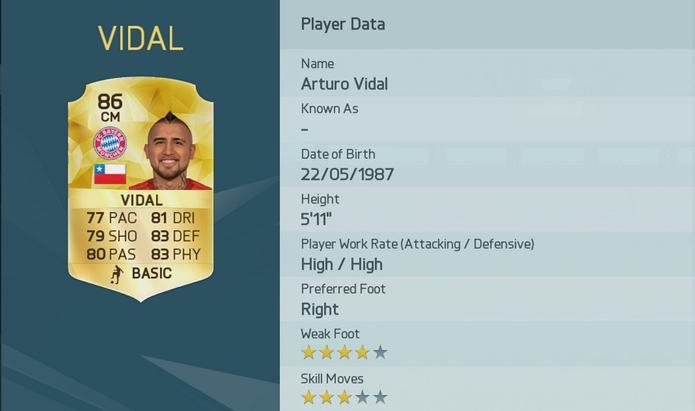 Arturo Vidal, do Chile, tem bônus +1 (Foto: Divulgação/EA Sports)