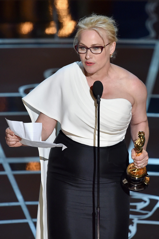 Patricia Arquette foi aplaudida de pé após seu discurso de agradecimento (Foto: Getty Images)