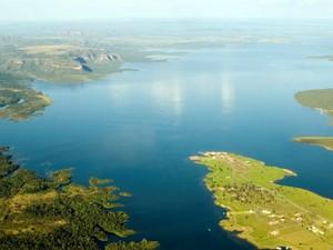 Vista aérea do Lago de Manso em Mato Grosso (Foto: Marcos Vergueiro )