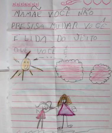 carta da Julia para mãe (Foto: acervo pessoal)