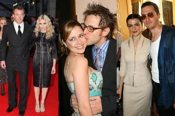 Madonna e Guy Ritchie, James Gunn e Jenna Fischer e Darren Aronofsky e Rachel Weisz: alguns casais que romperam os limites profissionais e iniciaram romances nos bastidores de Hollywood (Foto: Getty Images)