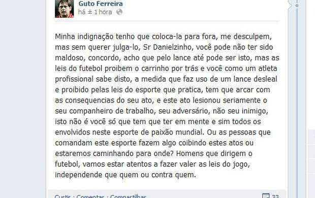 Guto Ferreira, técnico da Ponte, se manifesta em rede social (Foto: Reprodução / Facebook)