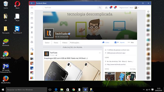 Facebook traz botão para voltar na barra de títulos do Windows 10 (Foto: Reprodução/Elson de Souza)