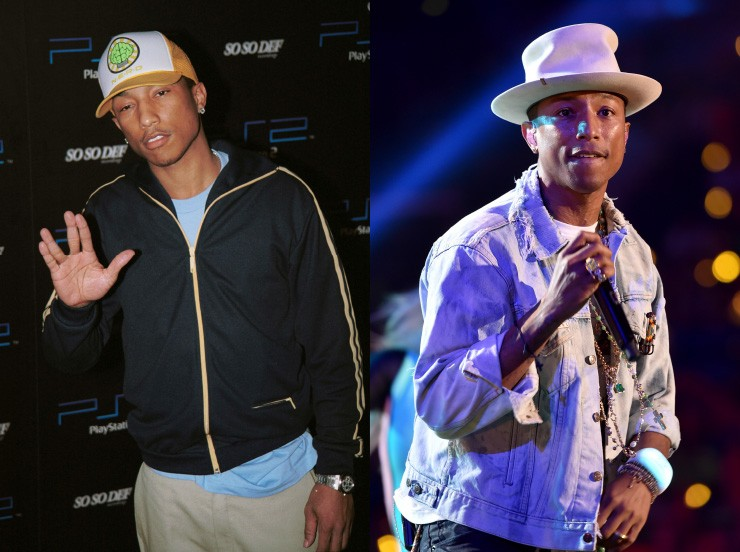 À esquerda, Pharrell estava na flor da idade com 29 anos. E hoje, ainda aspirando juventude, o rapper chegou aos 41 muito bem. (Foto: Getty Images)