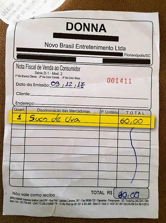 Suco de uva custa R$ 60 em balada de Florianópolis (Foto: Reprodução)