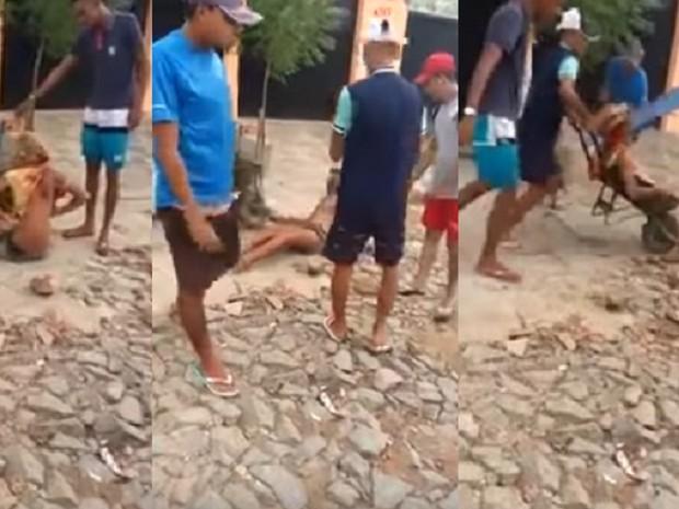 Cinco pessoas aparecem no vídeo que registrou a travesti Dandara dos Santos sendo agredida (Foto: Reprodução/Youtube)