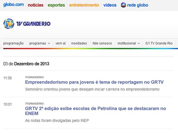 Página de novidades sobre a emissora e seus programas (Foto: Divulgação TV Grande Rio)
