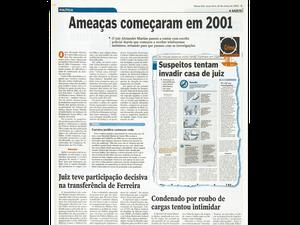 Arquivo: Ameaças contra juiz existiam desde 2001 (Foto: Reprodução/ A Gazeta/ 25/03/2003)