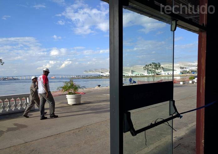 A vista do local é inspiradora: o porto carioca fica ao lado do Museu do Amanhã e do Museu de Arte do Rio (MAR), localizados na Praça Mauá, região central da cidade carioca (Foto: Melissa Cruz / TechTudo)