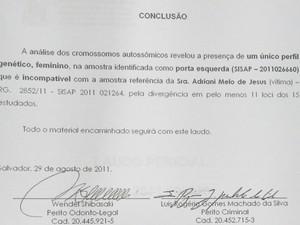 Laudo perfil genético na vítima, Adriane Melo, Bahia (Foto: Reprodução)