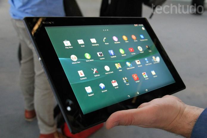 Tablet Sony Xperia Z2, apresentado no MWC 2014 (Foto: Isadora Díaz/TechTudo)