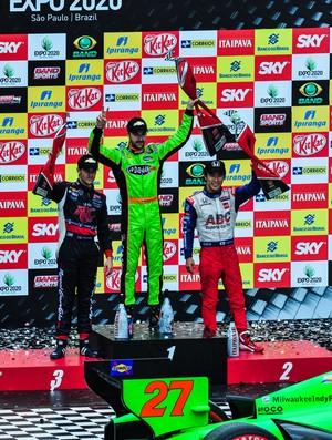 James Hinchcliffe, Takuma Sato e Marco Andretti no pódio em SP (Foto: Divulgação/Indy300)