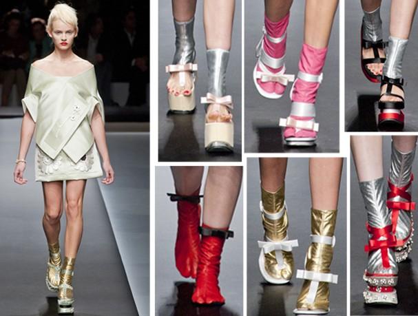 Os sapatos da Prada chamaram a atenção em Milão (Foto: Imaxtree)