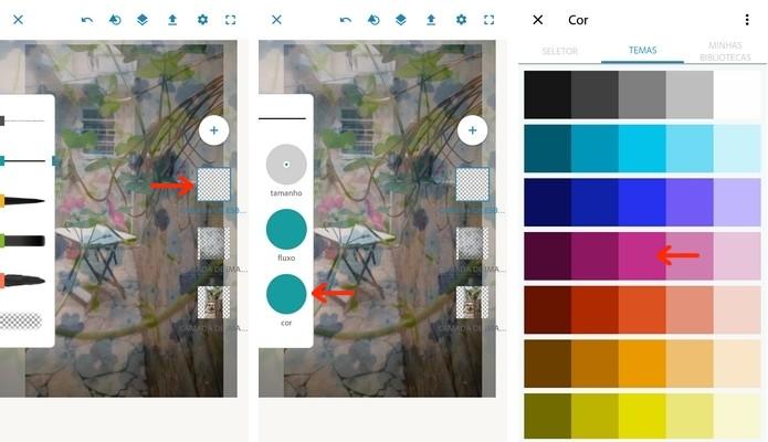 Alteração da cor do pincel no Photoshop Sketch (Foto: Reprodução/Raquel Freire)