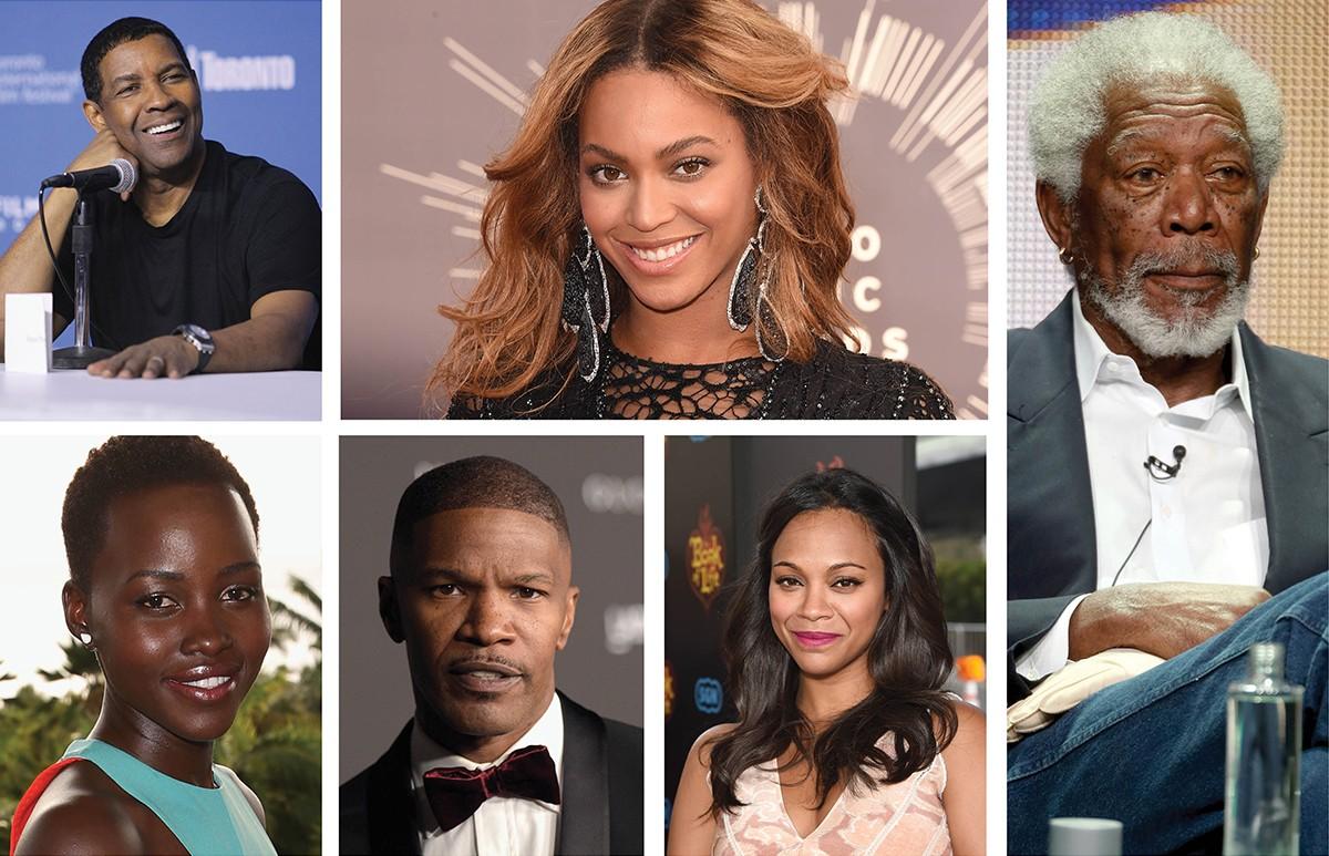 Denzel Washington, Beyoncé, Morgan Freeman, Zoe Saldaña, Jamie Foxx e Lupita Nyong'o (Foto: Getty Images)