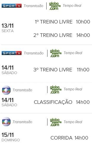 Horários corrida GP Brasil (Foto: Globoesporte.com)