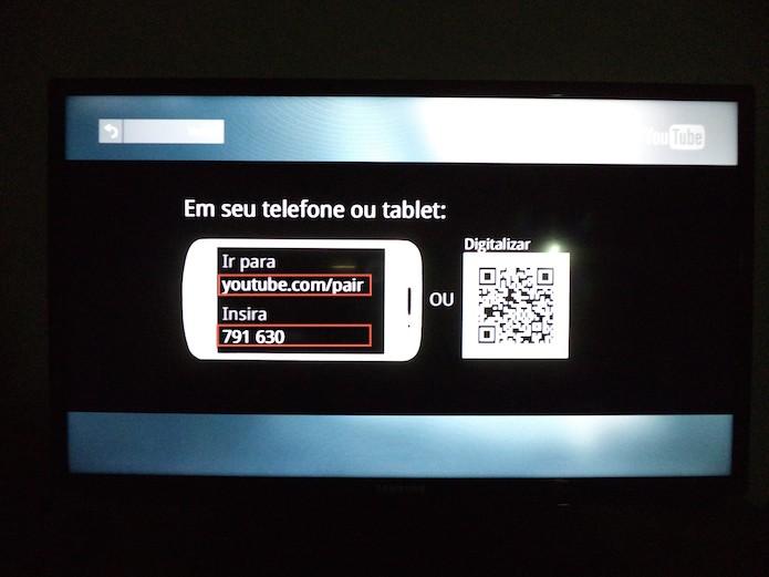 Dados necessários para o emparelhamento do aplicativo YouTube para Smart TVs com o YouTube.com (Foto: Reprodução/Marvin Costa)
