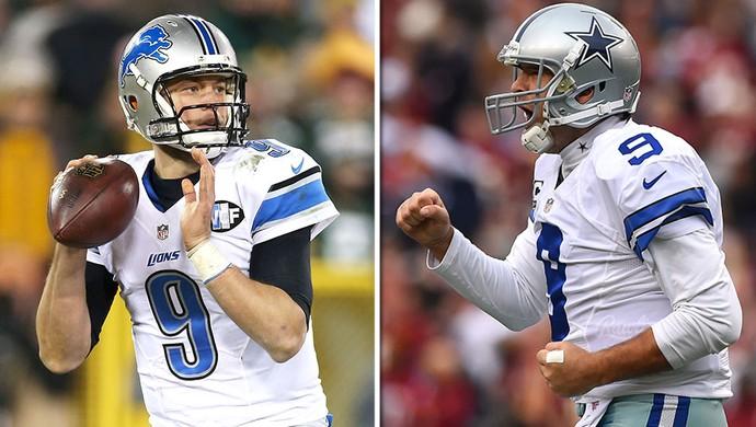 montagem NFL playoffs Matthew Stafford x Tony Romo (Foto: Editoria de Arte)