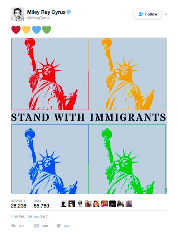 Miley Cyrus critica os atos de Donald Trump contra imigrantes (Foto: Twitter)