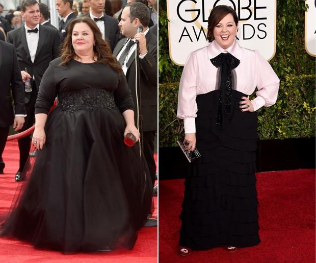 Melissa McCarthy no Emmy, em agosto de 2014, e no Globo de Ouro na noite deste domingo (11). (Foto: Getty Images)