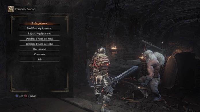 Dark Souls 3: o ferreiro Andre está escondido no Santuário do Elo de Fogo (Foto: Reprodução/Victor Teixeira)