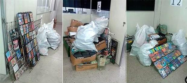 CDs e DVDs piratas foram apreendidos e levados para a delegacia (Foto: Divulgação/Polícia Civil do RN)