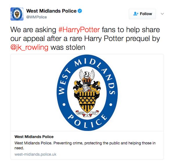 O aviso da polícia britânica pedindo ajuda dos fãs de Harry Potter (Foto: Twitter)