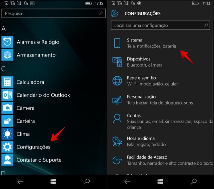 Acesse as configurações do Windows 10 Mobile (Foto: Reprodução/Helito Bijora)