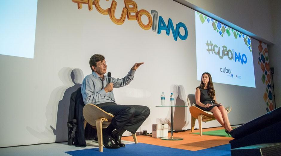 Roberto Setubal, presidente do Itaú Unibanco, fala a donos de startups na incubadora (Foto: Edu Bandelli/QUADRA 2)
