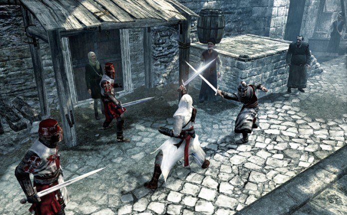 Assassins Creed: evite matar inocentes para não perder sua barra de sincronia (Foto: Reprodução/Youtube)