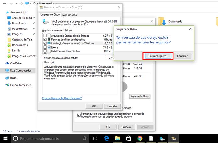 Usuário precisa dar confirmações para excluir a pasta Windows.old