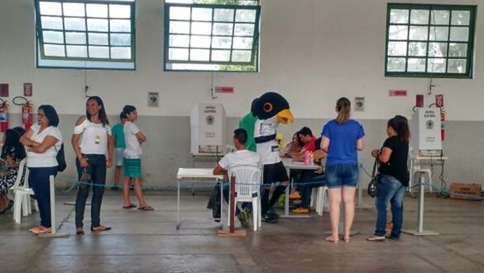 Patativa, mascote do Central, votou em um das seções eleitorais de Caruaru, em PE (Foto: Jadson Carvalho)