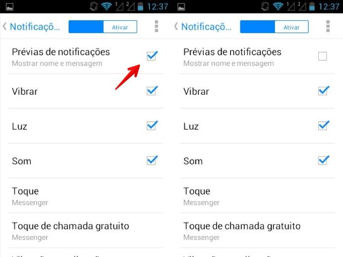 Desativando prévia de mensagem no Android (Foto: Reprodução/Helito Bijora)