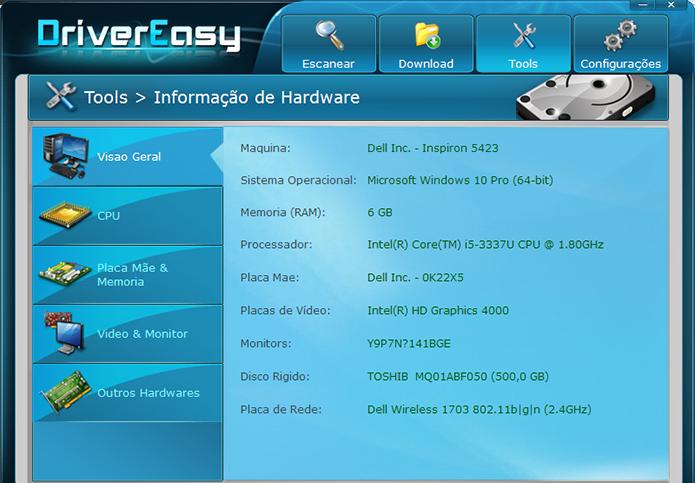 Driver Easy oferece painel de dados sobre o PC (Foto: Reprodução/Paulo Alves)