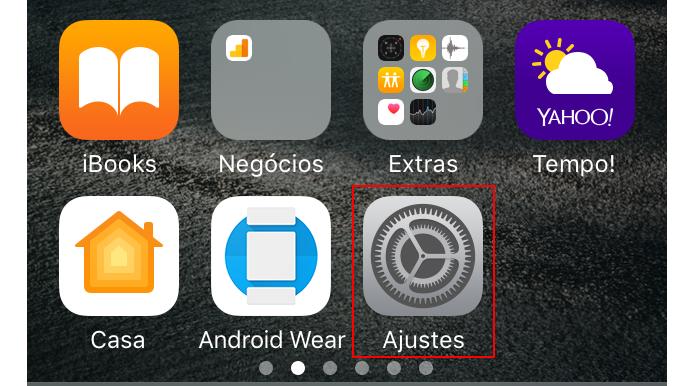 Acessando a opção Ajustes do iOS (Foto: Reprodução/Edivaldo Brito)