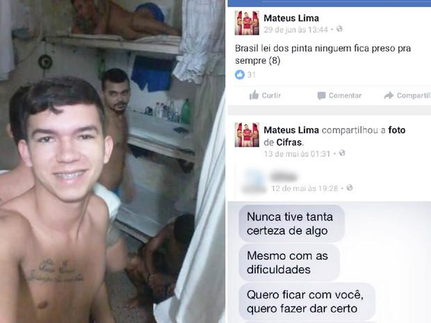 Sejuc descobriu que Mateus Lima da Silva, preso em março deste ano, atualizava a página dele no Fecebook desde maio (Foto: Divulgação/Sejuc)