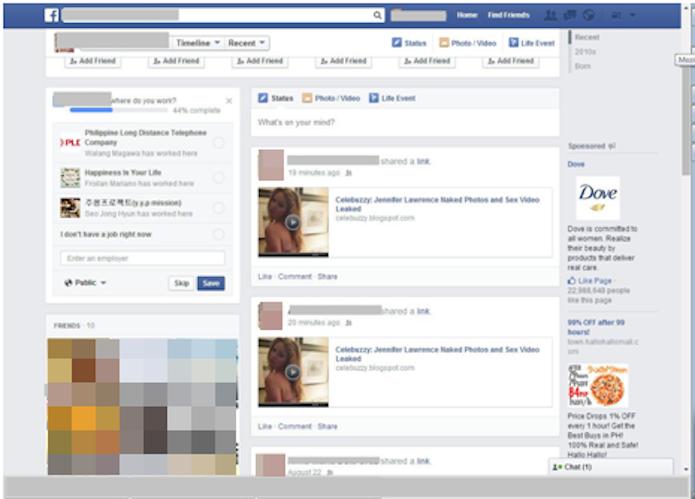 Mural da vítima com links spammed (Foto: Reprodução/Facebook)