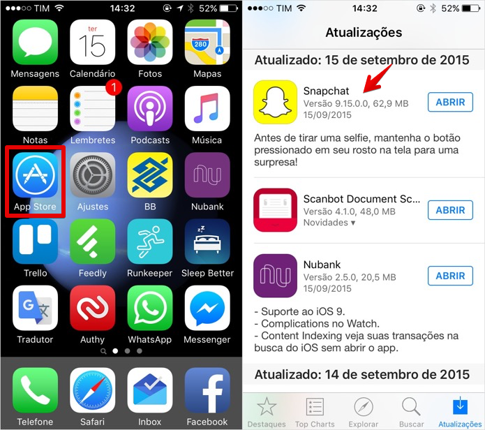 Verifique se o aplicativo está atualizado (Foto: Reprodução/Helito Bijora)